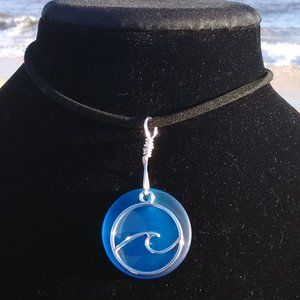 Turquoise Sea Glass Ocean Wave Necklace